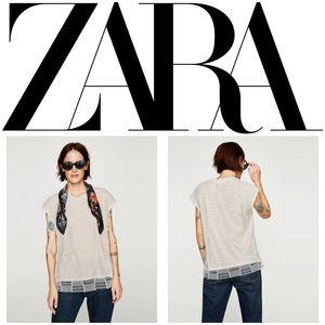 Zara Knit Cream Knit Overlay Sleeveless Tee